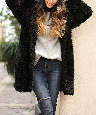 Z Avenue Women's Non-Denim Casual Jackets Black - Black Fuzzy Jacket - Women & Plus