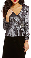 Alex Evenings V-Neck Beaded Belted-Waist Peplum Blouse