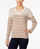 Karen Scott Petite Striped Ribbed V-Neck Sweater, Only at Macy's
