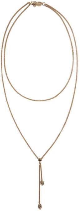 Alexander McQueen Gold Thin Chain Skull Necklace