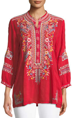 Johnny Was Plus Size Bethanie 3/4-Sleeve Embroidered Tunic