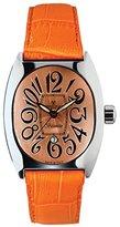 Montres de Luxe Women's BI3 ARA Bisanzio Stainless Steel Luminous Orange Leather Date Watch