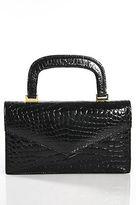 Neiman Marcus Black Embossed Crocodile Mini Satchel Handbag