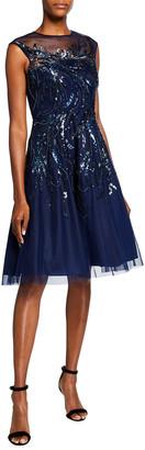 Aidan Mattox Sleeveless Beaded Tulle A-Line Illusion Dress