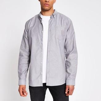 River Island Mens Grey long sleeve regular fit Oxford shirt