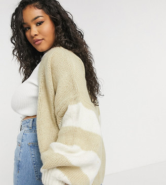 ASOS DESIGN Curve oversize cardigan with white stripe