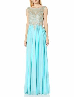 JVN by Jovani Women's Chiffon Sheer Neckline Prom Gown