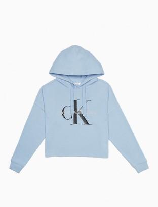 Calvin Klein Monogram Logo Pullover Cropped Hoodie