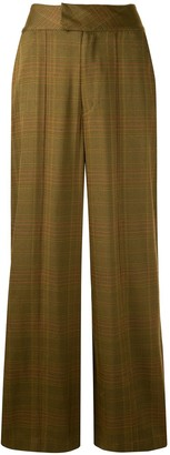 Muller of Yoshio Kubo Tuck-Wide Check-Print Trousers