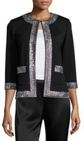 St. John Sequined-Trim 3/4-Sleeve Jacket, Caviar/Crystal