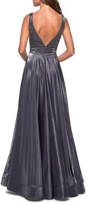 La Femme Plunge-Neck Sleeveless Two-Tone Satin Ball Gown with Rhinestone Bodice