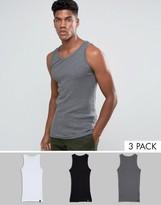 Dickies Proof 3-pack Vests In Muti-colour