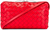 Bottega Veneta Leather Woven Crossbody Bag in Bright Red | FWRD