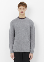 Lanvin grey / light blue open mouline stitch cashmere crew neck