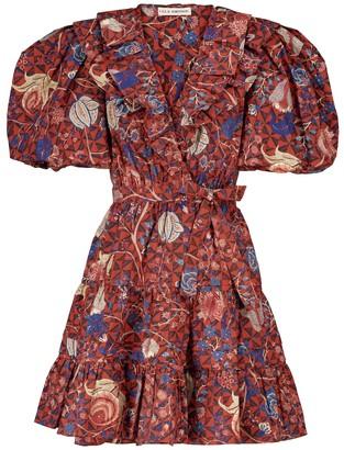 Ulla Johnson Maude floral cotton wrap minidress