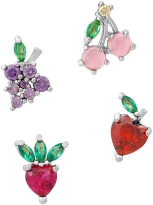 Girls Crew Fruit Basket Set of 4 Mismatched Stud Earrings