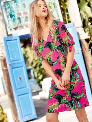M&Co Tropical tie sleeve dress