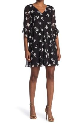 Calvin Klein Ruffle Sleeve A-Line V-Neck Dress