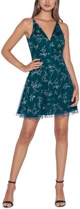 Blondie Nites Juniors' Glitter-Print Fit & Flare Dress