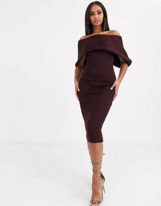 ASOS DESIGN fold front bardot midi pencil dress