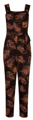 Dorothy Perkins Womens Tall Black Tropical Print Jumpsuit