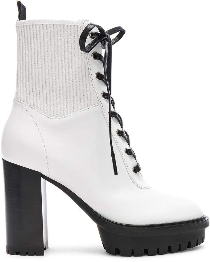 Gianvito Rossi Leather & Eco Stretch Martis Platform Ankle Boots in White | FWRD