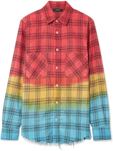 Amiri Frayed Dégradé Checked Cotton-flannel Shirt - Red