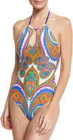 Trina Turk Pacific Paisley High-Neck Halter One-Piece Swimsuit, Multicolor