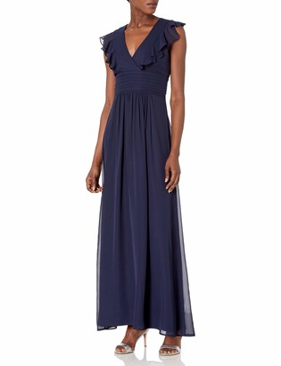 Marina Women's Long Chiffon Ruffle Gown
