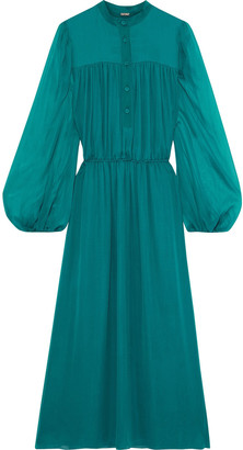Adam Lippes Gathered Silk-chiffon Midi Dress