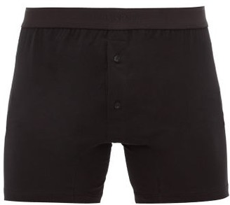 Sunspel Buttoned Superfine-cotton Boxer Briefs - Black