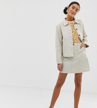 Monki aline mini skirt in off white