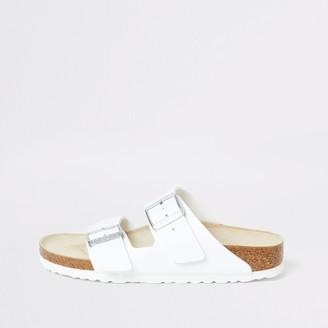 River Island Womens Birkenstock Arizona White two strap sandals