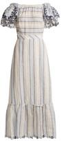 Gül Hürgel Ruffled-sleeve Striped Linen Dress - Womens - Blue Stripe
