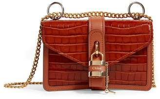 Chloé Leather Croc-Embossed Aby Chain Shoulder Bag