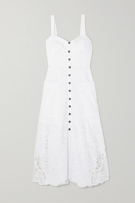 Saloni Fara Crocheted Lace-trimmed Broderie Anglaise Cotton Midi Dress - White