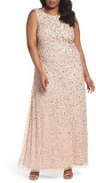 Adrianna Papell Plus Size Women's Sequin Cowl Back Gown