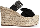 Valentino Garavani Bow-embellished Suede And Leather Wedge Espadrille Mules