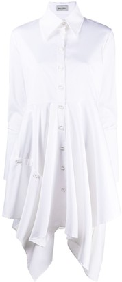 Balossa White Shirt Draped Detail Shirt Dress