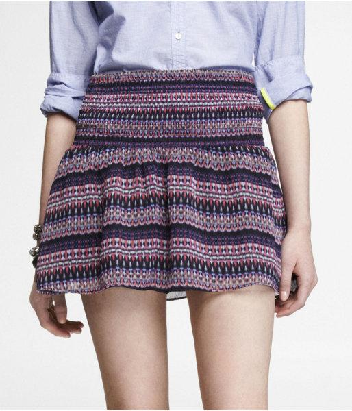 Express Printed Smocked Waist Mini Skirt