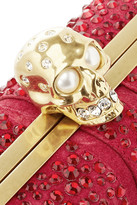 Alexander McQueen Skull crystal-embellished suede box clutch