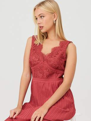 Little Mistress Eyelash Lace Pleated Bridesmaid Dress - Pink