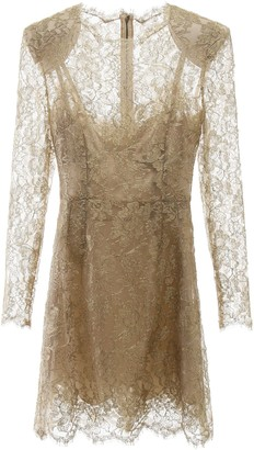 Dolce & Gabbana GOLDEN LACE MINI DRESS 40 Gold