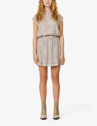 Rails Angelina leopard-print linen-blend mini dress
