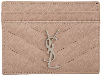 Saint Laurent Pink Monogramme Card Holder