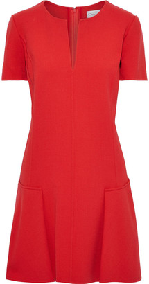 Oscar de la Renta Fluted Stretch-wool Crepe Mini Dress