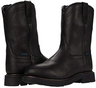Ariat Sierra Waterproof Soft Toe (Black) Men's Work Pull-on Boots