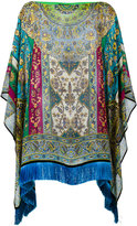 Etro floral border batwing tunic - women - Silk - One Size