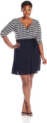 Star Vixen Women's Plus-Size Elbow Sleeve Fauxwrap Dress
