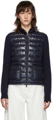 Moncler Navy Down Knit Jacket
